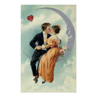 Vintage Victorian Couple Kiss on a Crescent Moon Print