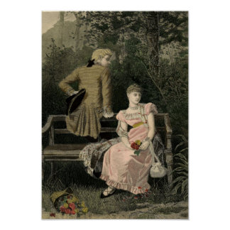 Vintage Victorian Couple on Bench Art Print
