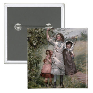 Vintage Victorian & Cute: Blackberry Picking 15 Cm Square Badge