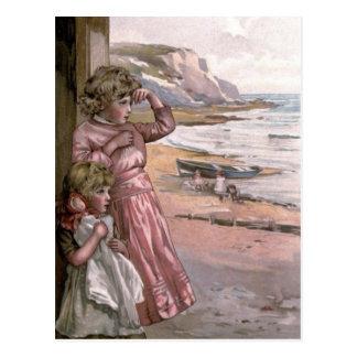 Vintage Victorian & Cute: Children at the Beach Postcard