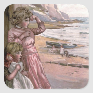 Vintage Victorian & Cute: Children at the Beach Stickers