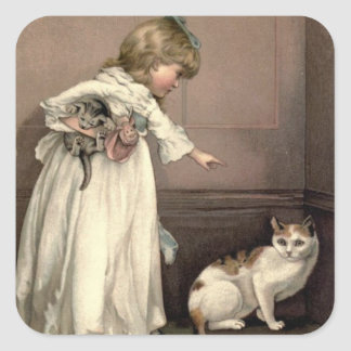 Vintage Victorian & Cute: Here Kitty, Kitty Square Sticker