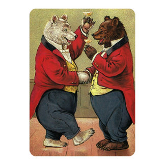 Vintage Victorian Dancing Bears Engagement Party 13 Cm X 18 Cm Invitation Card