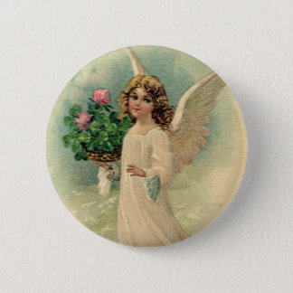 Vintage Victorian Easter Angel with Flowers 6 Cm Round Badge