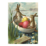 Vintage Victorian Easter Bunnies, Eggs, Boat
