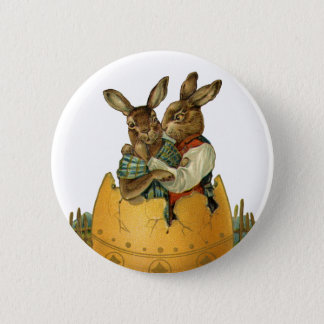Vintage Victorian Easter Bunnies, Giant Easter Egg 6 Cm Round Badge