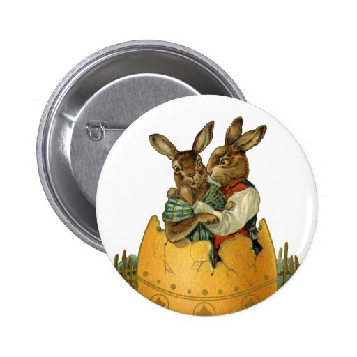 Vintage Victorian Easter Bunnies, Giant Easter Egg Pins