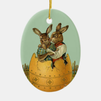 Vintage Victorian Easter Bunnies, Giant Easter Egg Christmas Ornament