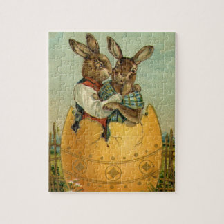 Vintage Victorian Easter Bunnies, Giant Easter Egg Jigsaw Puzzle