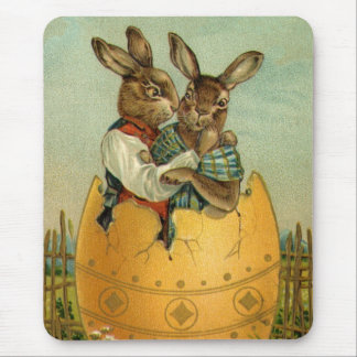 Vintage Victorian Easter Bunnies, Giant Easter Egg Mouse Pad