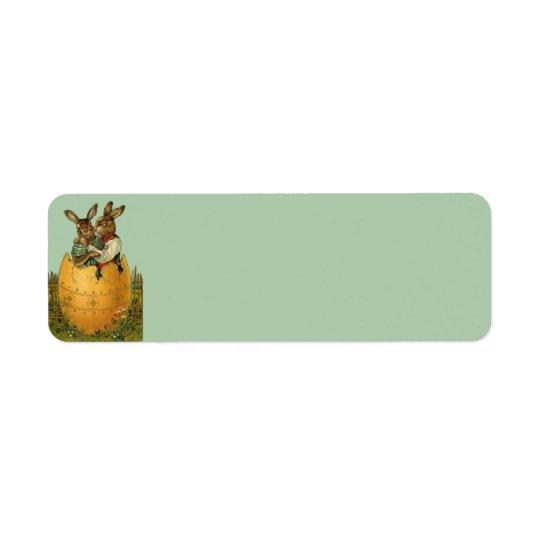 Vintage Victorian Easter Bunnies, Giant Easter Egg Return Address Label