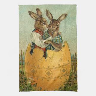 Vintage Victorian Easter Bunnies, Giant Easter Egg Tea Towel