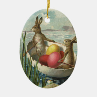 Vintage Victorian Easter Bunnies in an Egg Boat Christmas Ornament