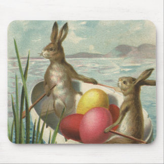 Vintage Victorian Easter Bunnies in an Egg Boat Mouse Pad