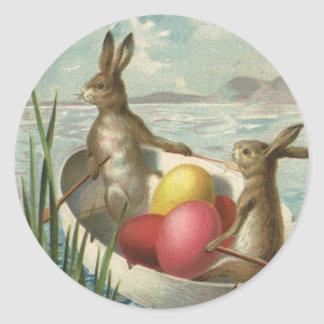 Vintage Victorian Easter Bunnies in an Egg Boat Round Sticker