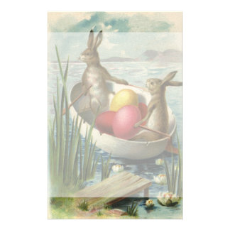 Vintage Victorian Easter Bunnies in an Egg Boat Stationery