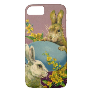 Vintage Victorian Easter Bunnies with Blue Egg iPhone 8/7 Case