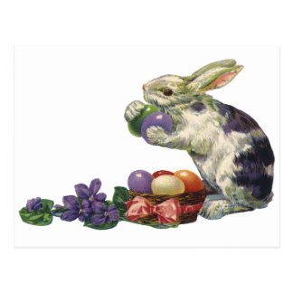 Vintage Victorian Easter Bunny, Eggs and Flowers Postcard