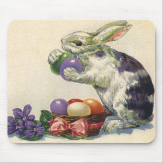 Vintage Victorian Easter Eggs, Bunny and Flowers Mouse Pad