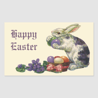 Vintage Victorian Easter Eggs, Bunny and Flowers Rectangular Sticker