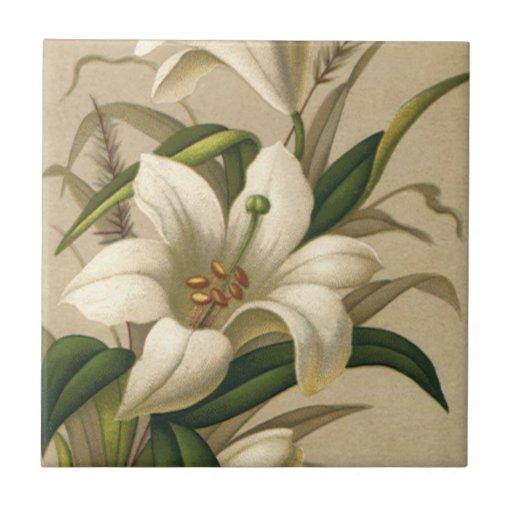 Vintage Victorian Easter Lily Flowers in Bloom Ceramic Tiles