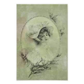 Vintage Victorian Elegant Lady In Green Pearl Lace Poster