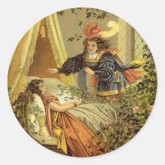 Vintage Victorian Fairy Tale, Sleeping Beauty Round Sticker
