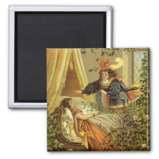 Vintage Victorian Fairy Tale, Sleeping Beauty Square Magnet