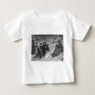 Vintage Victorian Family Christmas Sled Race Baby T-Shirt