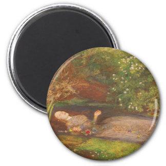 Vintage Victorian Fine Art, Ophelia by Millais 6 Cm Round Magnet