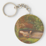 Vintage Victorian Fine Art, Ophelia by Millais Basic Round Button Key Ring