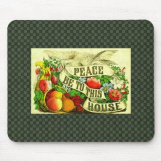 Vintage Victorian Floral Peace House Dove Mousepad