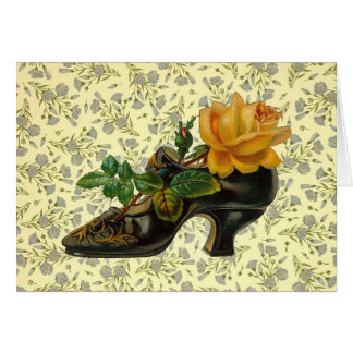 Vintage Victorian Floral Shoe Greeting Card