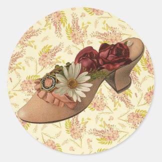 Vintage Victorian Floral Shoe Round Sticker