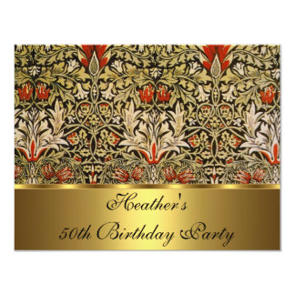 Vintage Victorian Floral Snakeshead 1876 Gold 11 Cm X 14 Cm Invitation Card