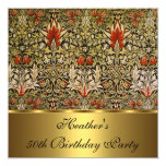 Vintage Victorian Floral Snakeshead 1876 Gold 13 Cm X 13 Cm Square Invitation Card