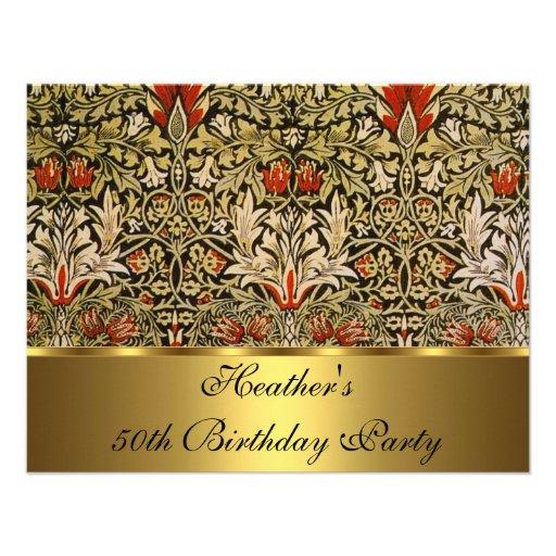 Vintage Victorian Floral Snakeshead 1876 Gold Invites