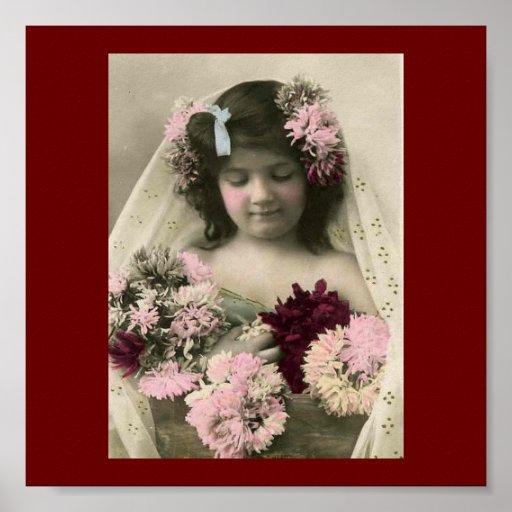 Vintage Victorian Flower Girl Art Print
