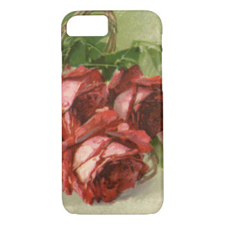 Vintage Victorian Flowers, Red Roses iPhone 7 Case