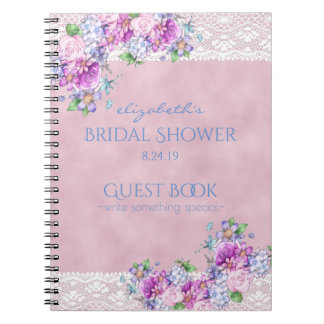 Vintage Victorian Flowers with Lace Bridal Shower Note Books