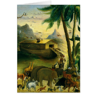 Vintage Victorian Folk Art, Noah's Ark by Hidley Card