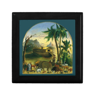 Vintage Victorian Folk Art, Noah's Ark by Hidley Small Square Gift Box