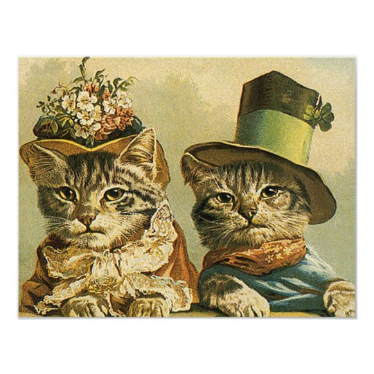 Vintage Victorian Funny Cats in Hats Save the