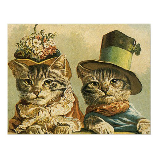 Vintage Victorian Funny Cats in Hats Save the Date Invitation