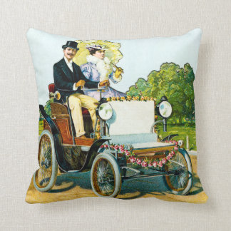 VIntage Victorian Gentleman and Lady Motorists Cushion