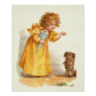 Vintage Victorian Girl and Dog by Frances Brundage Poster
