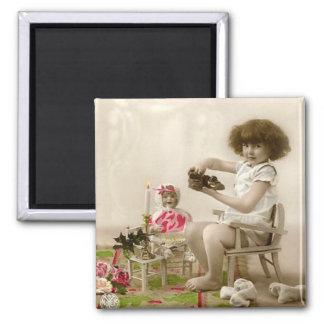 Vintage Victorian Girl & Doll Fridge Magnet