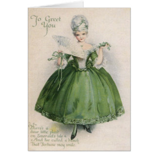 Vintage Victorian Girl In Green St Patrick's Day C Card