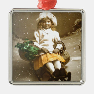 Vintage Victorian GIrl On Sled Christmas Ornament