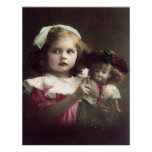 Vintage Victorian Girl with Doll Art Print